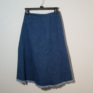 ASOS JEAN SKIRT FRAYED ENDS SZ 4